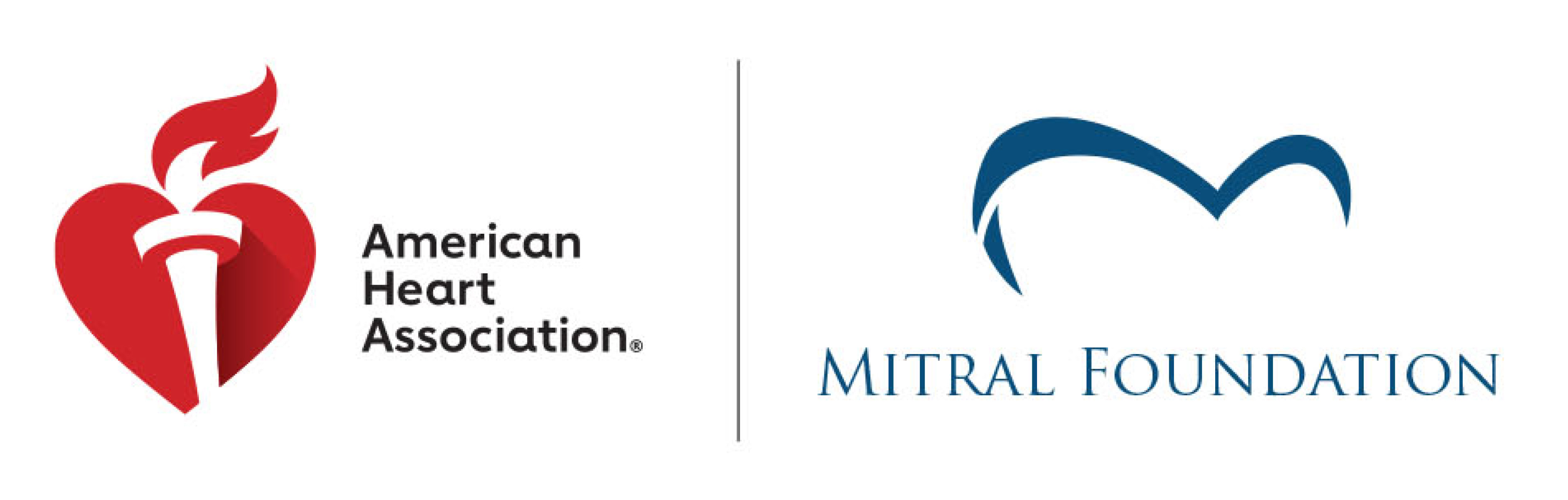 American Heart Association and Mitral Foundation co-brand logo