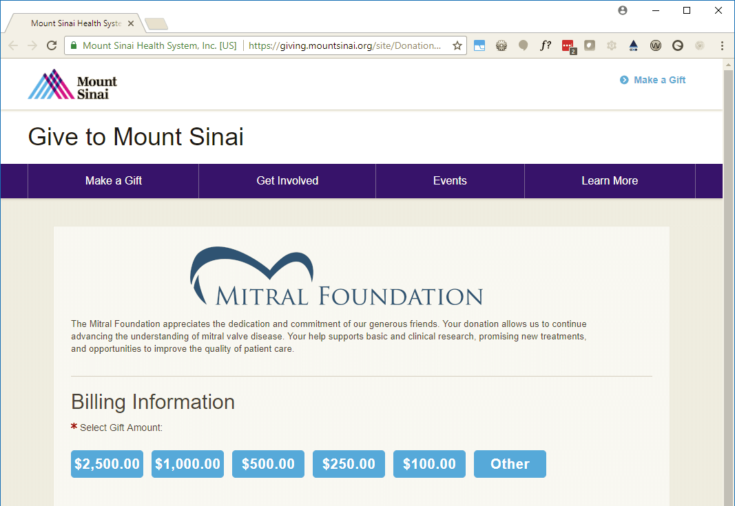 Our secure giving page is hosted on the Mount Sinai website, https://giving.mountsinai.org/mitralfoundation.